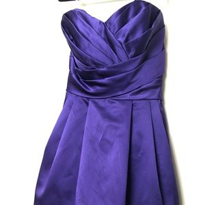 David's Bridal Satin Purple Strapless Dress